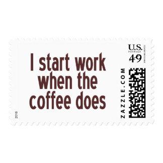Comience a trabajar el café estampilla