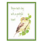 Comience cada día con el gorrión agradecido de la  tarjeta postal