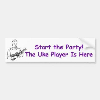 ¡Comience el fiesta! El jugador de Uke está aquí Pegatina De Parachoque