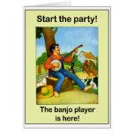 ¡Comience el fiesta! ¡El jugador del banjo está aq Felicitación