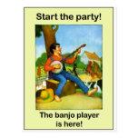 ¡Comience el fiesta! ¡El jugador del banjo está aq Postales