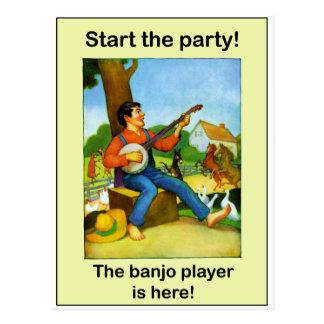 ¡Comience el fiesta! ¡El jugador del banjo está Tarjeta Postal