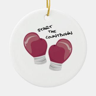 Comience la cuenta descendiente adorno redondo de cerámica