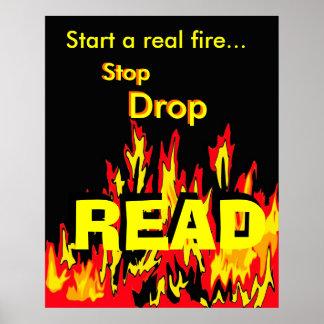 Comience un fuego real… La parada, descenso, LEYÓ Póster