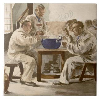 Comiendo la sopa en los cuarteles, de 'L'Estampe M Azulejo Cuadrado Grande