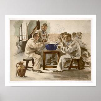 Comiendo la sopa en los cuarteles, de 'L'Estampe M Póster