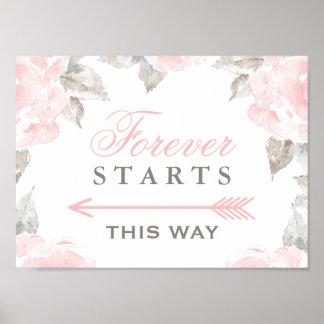 Comienza para siempre rosas de esta de la manera póster