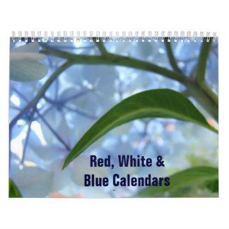 Comienzo americano azul blanco rojo del calendario