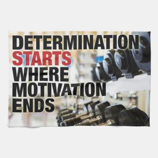Comienzo de la determinación donde la motivación toalla de mano