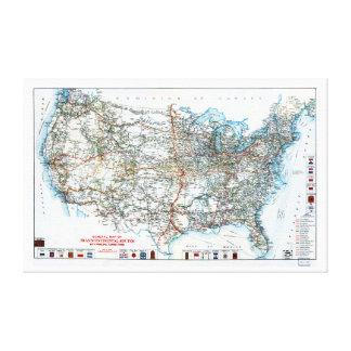 Comienzo del siglo XX histórico del mapa de la Impresiones De Lienzo