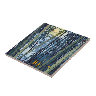 Comienzo del verano de bambú fresco de Shiro Kasam Azulejo Cuadrado Pequeño