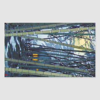 Comienzo del verano de bambú fresco de Shiro Pegatina Rectangular