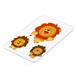 "'Coming!!"" 3 Cute Cartoon Lions Flexible Magnet"