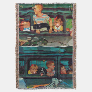 Coming and Going by Norman Rockwell Throw Blanket