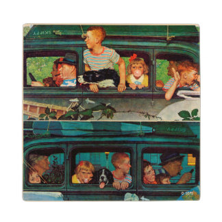 Coming and Going by Norman Rockwell Wood Coaster