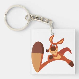 """""""Coming!!"""" Cute Cartoon Kangaroo Acrylic Keychain"""