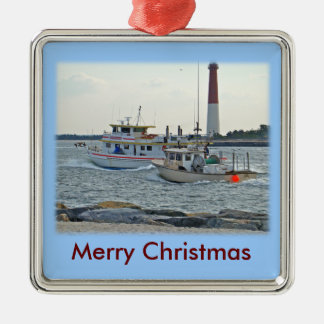 Coming Home - Fishing Boats in Barnegat Inlet Item Square Metal Christmas Ornament