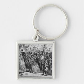 Coming home from church Silver-Colored square keychain