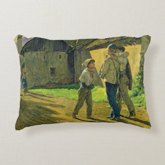 Coming home from the war, 1859 decorative pillow