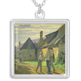 Coming home from the war, 1859 silver plated necklace