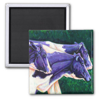 Coming Home - Holstein Cows 2 Inch Square Magnet