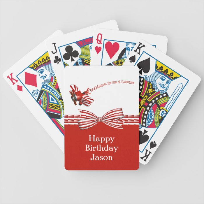Coming In For Landing Airplane Birthday Bicycle Playing Cards