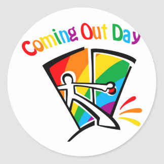 Coming out day classic round sticker
