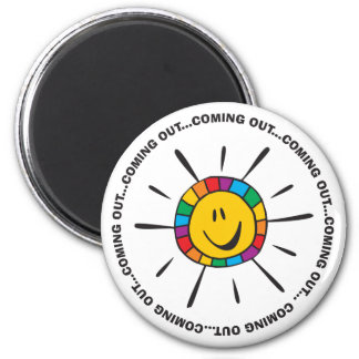 Coming out smiley faces . magnet
