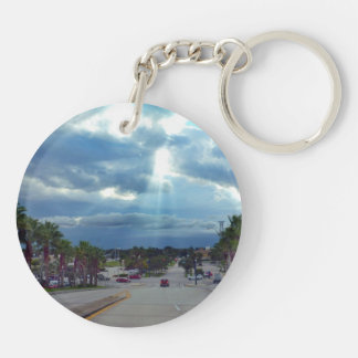 coming over the bridge sun through clouds Double-Sided round acrylic keychain