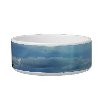 coming over the bridge sun through clouds pet food bowl