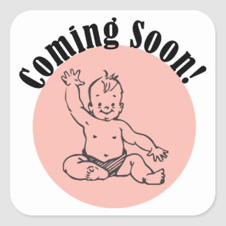 Coming Soon Baby in Pink Square Sticker