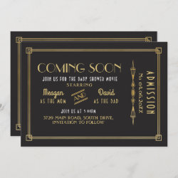 Coming Soon Baby Shower Gatsby Movie Ticket Party Save The Date