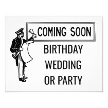Coming Soon Birthday Wedding or Party Retro Invitation