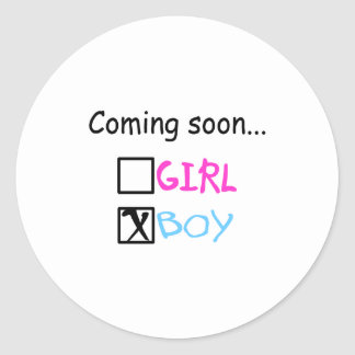 Coming Soon...(Boy) Classic Round Sticker