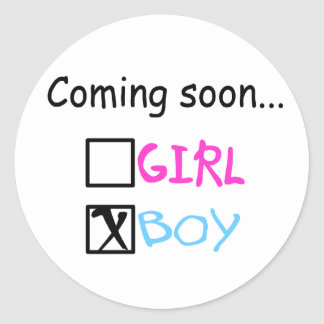 Coming Soon, Boy Classic Round Sticker