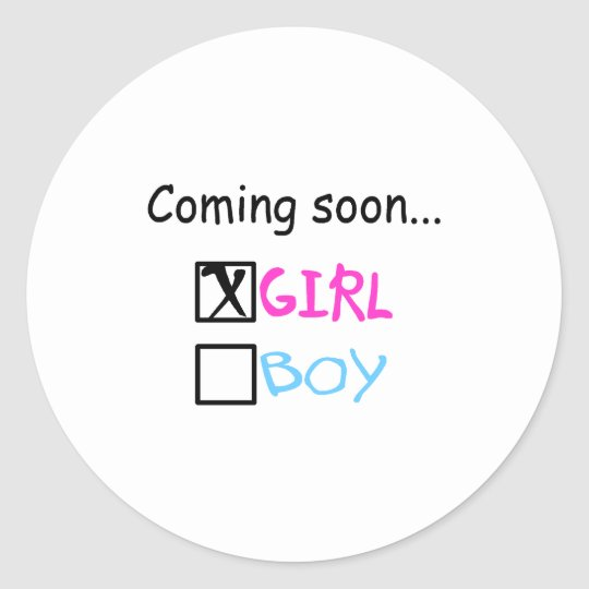 Coming Soon... (Girl) Classic Round Sticker