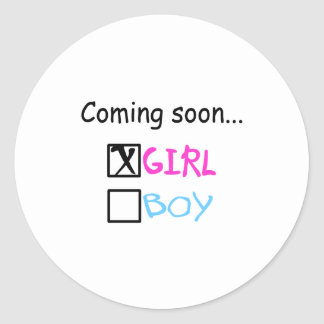 Coming Soon, Girl Classic Round Sticker