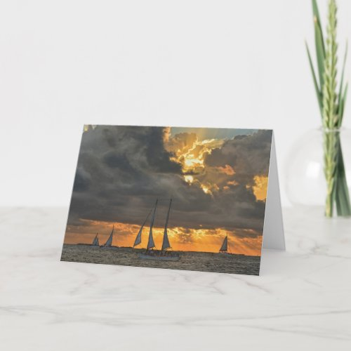 Coming Storm at Sunset in Key West, Florida Card