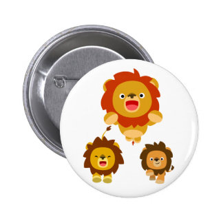 "'Coming!!"" Three Cute Cartoon Lions Button Badge"