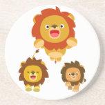 "'Coming!!"" Three Cute Cartoon Lions Coaster"