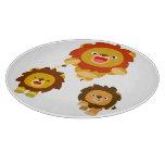 "'Coming!!"" Three Cute Cartoon Lions Cutting Board"