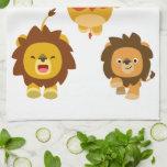 "'Coming!!"" Three Cute Cartoon Lions Kitchen Towel"
