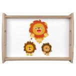 "'Coming!!"" Three Cute Cartoon Lions Serving Tray"