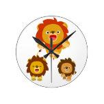 "'Coming!!"" Three Cute Cartoon Lions Wall Clock"