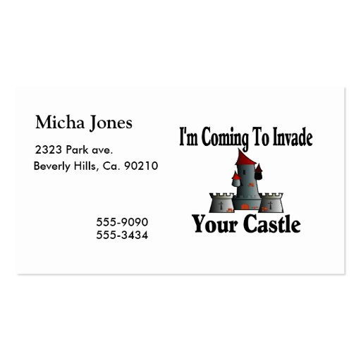 Coming To Invade Your Castle Business Card