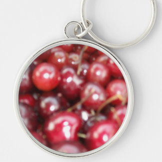 Coming Up Cherries Silver-Colored Round Keychain
