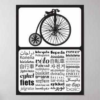 Comino del penique - bicicleta en otros idiomas póster
