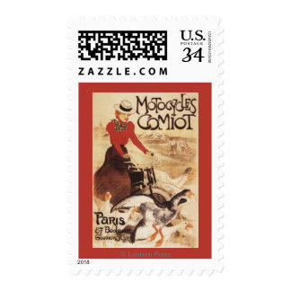 Comiot Motocycles Woman and Geese Promo Poster Postage