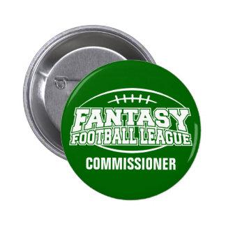 Comisión del fútbol FFL de la fantasía Pin Redondo De 2 Pulgadas