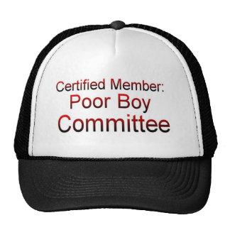 Comité del muchacho pobre gorras de camionero